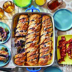 Blueberry and Mascarpone-Stuffed French Toast Casserole Bust out the maple syrup! It's the only addition needed to take this stuffed French casserole to decadent brunch perfection. Make Ahead Breakfast, Breakfast Dishes, Breakfast Casserole, Breakfast Recipes, Breakfast Ideas, Brunch Ideas, Perfect Breakfast, Breakfast Bake, Morning Breakfast