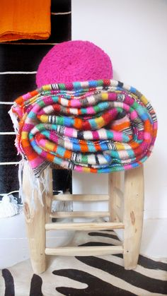 Moroccan Wool Blanket  Multicolored Stripes