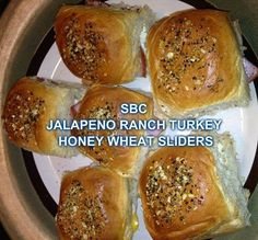 JALAPENO RANCH TURKEY HONEY WHEAT SLIDERS  1 Package of Honey Wheat Hawaiian Rolls Litehouse Jalapeno Ranch Dressing & Dip (can use ranch only to cut the heat) Sliced Pepper-Jack Cheese Sliced Velveeta Cheese Lean Honey Turkey Stick of Butter Mrs. Dash Original Blend Use how many that you need for your family.... Spread the Jalapeno Ranch Dip Tear one slice of cheese in 1/4ths Cut Turkey in 1/4ths Place one forth of cheese on the top and one on the bottom then place the turkey in the ...