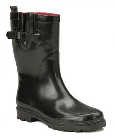 Take a look at this Black Buckle Rain Boot today!