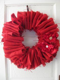 red burlap door wreath