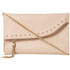 Dune Etassle Stud and Tassel Fold Over Clutch Bag, Nude ($69) ❤ liked on Polyvore