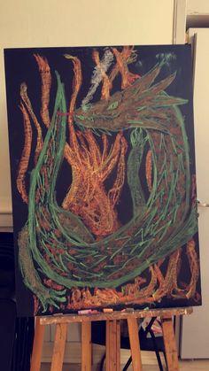D for Dragon #waldorfschool #waldorf #chalkboard #chalkdrawing #tavletegning #steinerskolen