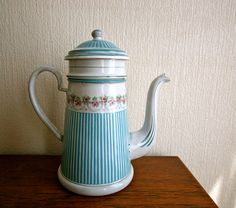 French enamel cafetiere from the 1930s