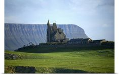 Gareth McCormack Poster Print Wall Art Print entitled Classiebawn Castle With Ben Bulben In The Distance, Mullaghmore, County Sligo, Ireland, None