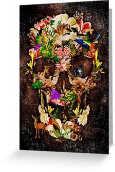 Animal Kingdom Sugar skull Greeting Cards #GreetingCards #cards #deer #wolf #snake #skull #skeleton #dayofthedead #diasdemuertos #jackskellingtons #halloween #scary #thenightbeforechristmas #animal #bone #tattoo #hippie #hipster #aztec #maya #indian #feather #bird #butterfly #mexico #mexican #hauntedmansion #ghost #monster #sugarskull