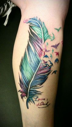 water color phoenix tattoo designs | Colorful Feather And Bird Tattoo Design
