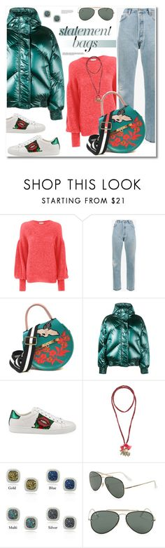 """""""Get the look the bag"""" by vkmd ❤ liked on Polyvore featuring Laneus, RE/DONE, Angela Valentine Handbags, Ienki Ienki, Gucci, CATHs, Glitzy Rocks, Ray-Ban and statementbags"""