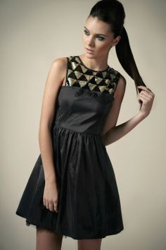 Boutique Celia Sequin Triangle Yoke Prom Dress at boohoo.com