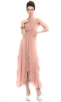 Zehui Womens Candy Color Chiffon Solid Party Ball BOHO Sleeveless Beach Long Dress Pink UK12