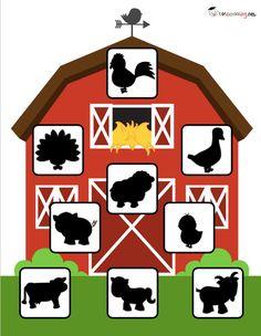 Sombras de animais da granja para criancas 1 Toddler Learning Activities, Animal Activities, Preschool Learning Activities, Preschool Art, Farm Animals Preschool, Teach English To Kids, Flashcards For Kids, Farm Theme, Kids Education