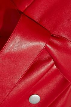 A.W.A.K.E. - Ruffled Faux Leather Coat - Red - FR38