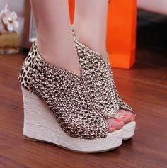 fashion peep toe wedges