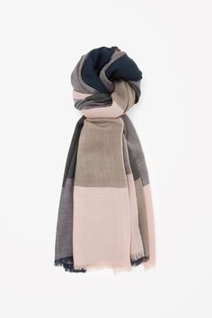 COS image 1 of Checked wool scarf in Sand