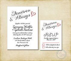Wedding Invitation Suite Black White by AshleyMartinDesigns, $10.00