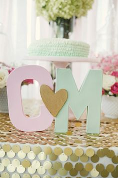 Cute DIY Bridal Shower Idea! Painted initials as centerpiece! Or use for Baby shower with baby's initials! We can recreate this for you! http://www.creativeambianceevents.com/