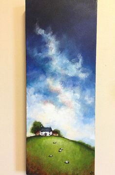 Big Sky Cottage & Sheep Original Acrylic Painting by JanePalmerArt