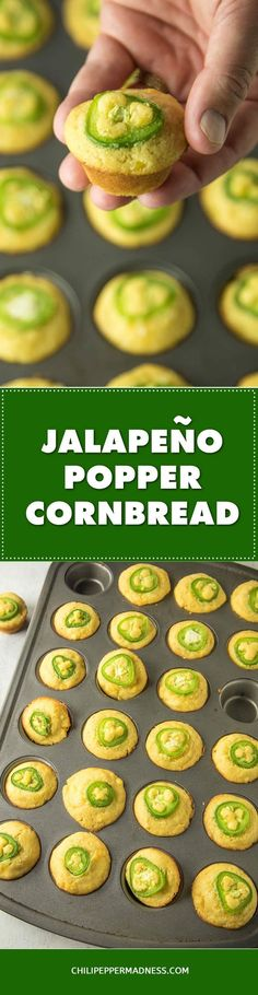 Cheesy Jalapeno Popper Cornbread Muffins – This cornbread recipe makes the perfect holiday side dish or appetizer. Moist cornbread muffins filled with cream cheese and topped with jalapeno pepper slices. Watch them disappear.