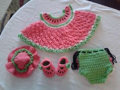 Crocheted watermelon pattern set for infants.  Set includes hate, shoes, diaper cover and reversible top for $40/set.  Sizes 0 - 12 months.  Shipping and easy payment method on site - ConniesCrochets on Facebook.