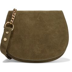 Zimmermann Saddle suede shoulder bag (4 980 UAH) ❤ liked on Polyvore featuring bags, handbags, shoulder bags, army green, brown suede purse, suede leather handbags, shoulder hand bags, suede handbags and shoulder handbags