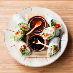 Spring Rolls with Ginger Soy Dipping Sauce