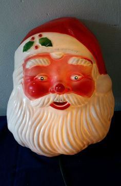 "Vintage 1968 Hard Plastic Lighted Santa Face Blow Mold Wall Mount 16"" x 12"""