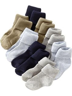 Triple-Roll Sock 8-Packs for Baby - 4/5T - Cool Color Combo Pack