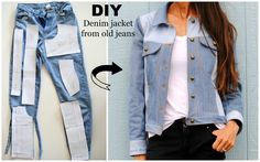 DIY: Denim Jacket from old jeans featuring Named Clothing Maisa Denim Jacket Pattern. How to: Upcycled denim jacket from old jeans. Laura from Trash to Couture shares the construction process of making a denim jacket from upcycled jeans featuring Named Cl Diy Jeans, Jeans Refashion, Diy Clothes Refashion, Diy With Jeans, Diy Clothes Jeans, Old Jeans Recycle, Thrift Store Refashion, Men Clothes, Diy Clothing