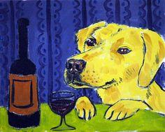 golden retriever wine dog signed animals artist print gift new modern 13x19 #modern