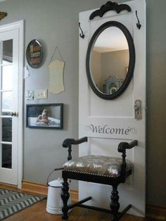 Beautiful hall tree from an old door and chair! Via re-scape