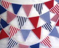 Nautical bunting banner flag to flag 58 flags spots stripes gingham blue white red stripes gingham & plain Nautical Bunting, Nautical Party, Bunting Garland, Bunting Ideas, Blue Bunting, Gingham Party, Raggedy Ann And Andy, Red Stripes, Red White Blue