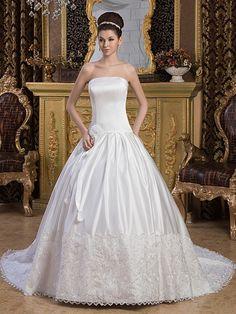 Marjolaine - corte evasé strapless vestido de novia de satén con apliques