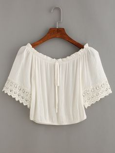 Shop Tie-Neck Crochet Trimmed Sleeve Crop Top online. SheIn offers Tie-Neck…
