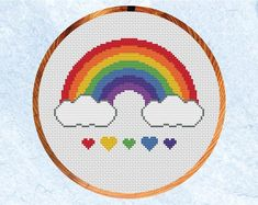 Geek Cross Stitch, Baby Cross Stitch Patterns, Cross Stitch Heart, Simple Cross Stitch, Cross Stitch Designs, Easy Cross, Cross Stitching, Embroidery, Rainbow Heart
