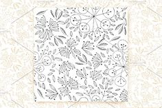"downloadable 12""x12"" Hand Drawn Leaves  by sallysantos on @creativemarket"