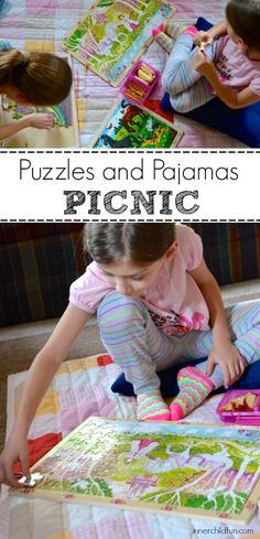 Puzzles and Pajamas Picnic -- great rainy day fun! #sponsored #kids #parenting