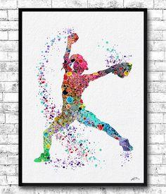 Baseball Softball Pitcher Watercolor Print Art Print by ArtsPrint