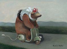illustration, animal, bear, moped. Peter Gut
