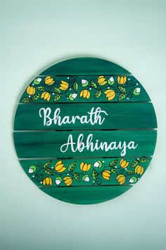 Hand-Painted Circular Shape Madhubani Lotus Design Green Name Plate for your Home Entryway. Available in a number of monochromatic colors and traditional madhubani designs for an Indian touch to your Home Decor Wooden Name Plates, Door Name Plates, Name Plates For Home, Name Board Design, Name Plate Design, Diy Crafts Hacks, Diy Home Crafts, Diy Projects, Name Boards