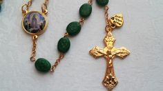 Rosary with Irish Ceramic Shamrock Embossed Beads  and Gold Accents and Pouch by BarbsBeadedBoutique on Etsy