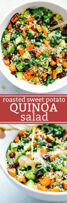 25 Healthy One Pot Vegetarian Meals Roasted sweet potato and quinoa salad! Fresh and healthy roasted sweet potato and quinoa salad made with spinach and avocados. A healthy and delicious lemon vinaigrette dressing coats this salad. Healthy Salad Recipes, Whole Food Recipes, Vegetarian Recipes, Dinner Recipes, Cooking Recipes, Vegan Quinoa Recipes, Dinner Ideas, Roast Recipes, Simple Salad Recipes