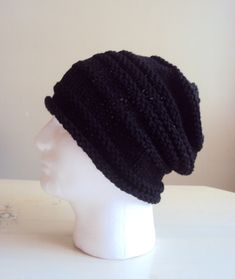 4c97b4ddd71 Mens Knit Slouchy Beanie Celebrity Hat Slouchy Hat Winter Hats Dreadlock Hat