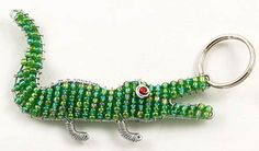 Beaded Crocodile Keychain or Zipper Pull by WireBeadedAnimals