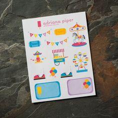 Carnival/Fair Sampler 14 ct for Erin Condren Life Planner, Plum Paper Planner, Filofax, Kikki K, Calendar or Scrapbook by adrianapiper on Etsy