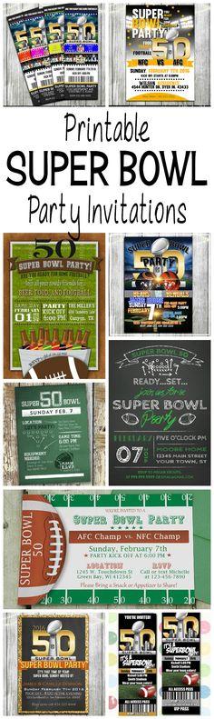 Printable 2016 Super Bowl 50 Football Party Invitations                                                                                                                                                                                 More