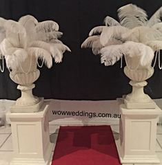 Pedestal and Urn with Ostrich feathers arrangement