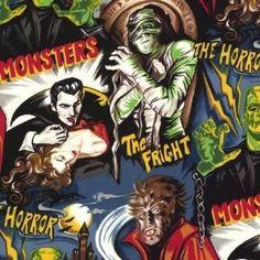 Robert Kaufman - Pleasures and Pastimes Horror Cinema cotton fabric