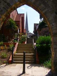 Old town, Southampton showing the spire of St Michaels Church.