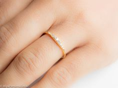 Diamond Wedding Band Wedding Band Women by AlyaPersonalized