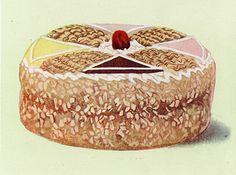Vintage Fruit and Nut Cake Illustration